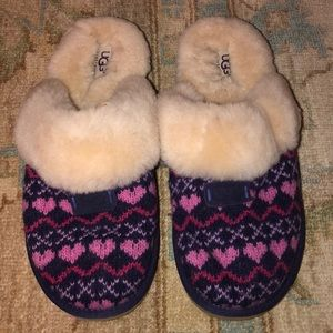 Pink and Purple Heart Ugg Slippers